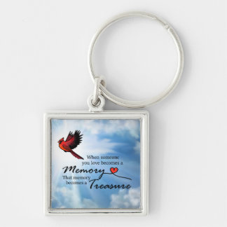 """Cardinal """"When someone you love"""" Silver-Colored Square Key Ring"""