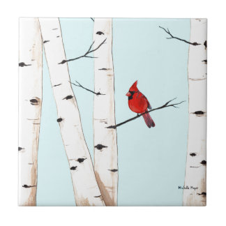 Cardinal with Birch Trees Ceramic Tile