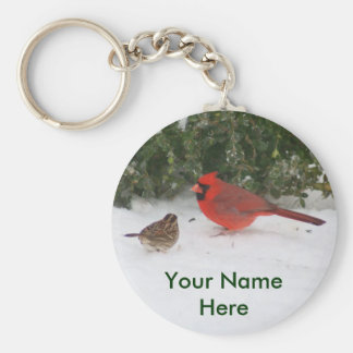 Cardinal with Sparrow Key Ring