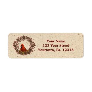 Cardinal Wreath Address Label