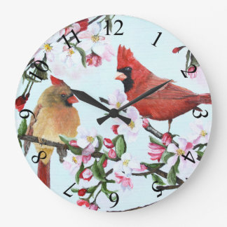 Cardinals and Apple Blossoms Wall Clock