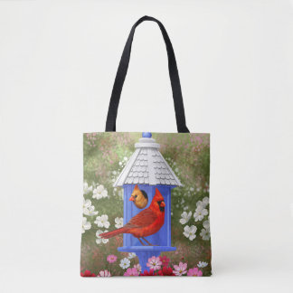 Cardinals and Blue Birdhouse Tote Bag