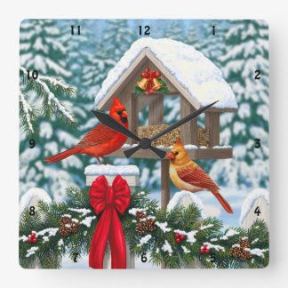 Cardinals and Christmas Bird Feeder Clocks
