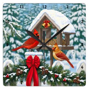 Cardinals and Christmas Bird Feeder Square Wall Clock