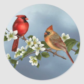 Cardinals and Dogwood Classic Round Sticker