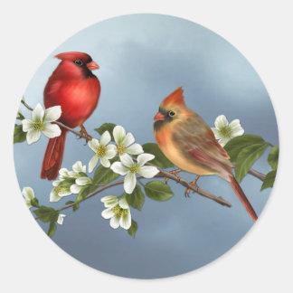 Cardinals and Dogwood Round Sticker