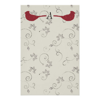 Cardinals and Flowering Vines Monogram Stationery