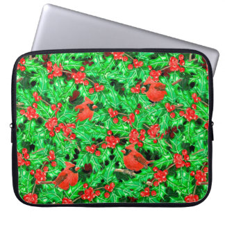 Cardinals and holly berry laptop sleeve