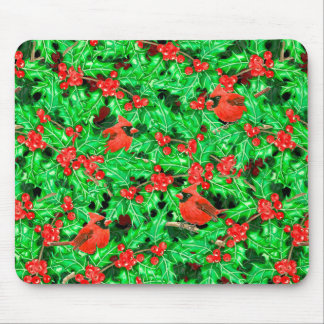 Cardinals and holly berry mouse pad