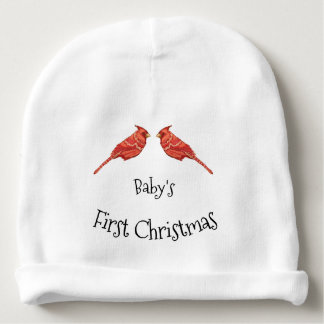 Cardinals Baby's First Christmas Personalize Name Baby Beanie