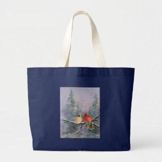 CARDINALS by SHARON SHARPE Large Tote Bag