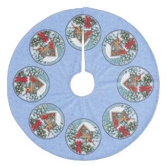 Cardinals Christmas Feast Blue Fleece Tree Skirt