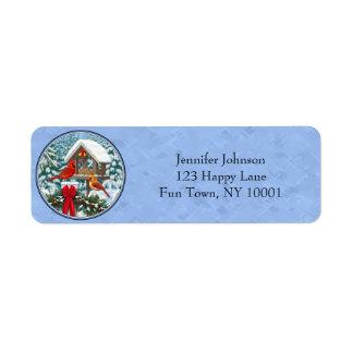 Cardinals Christmas Feast Blue Return Address Label