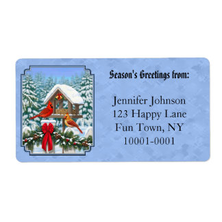 Cardinals Christmas Feast Blue Shipping Label