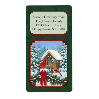 Cardinals Christmas Feast Green Shipping Label