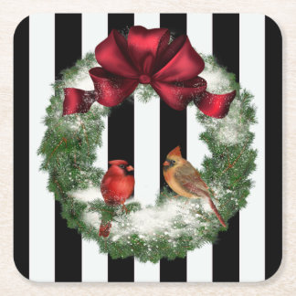 Cardinals Christmas Wreath and Stripes Square Paper Coaster
