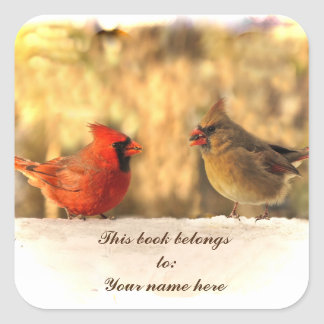 Cardinals in Autumn Bookplate Square Sticker