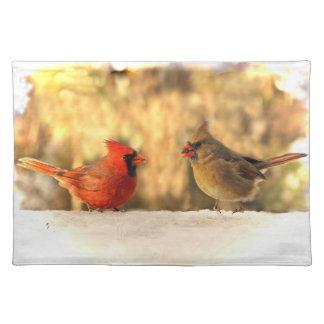 Cardinals in Autumn Cloth Place Mat
