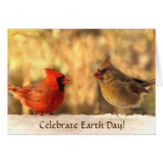 Cardinals in Autumn Earth Day Greeting Card