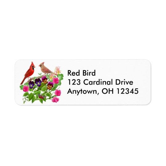 Cardinals in Garden Label