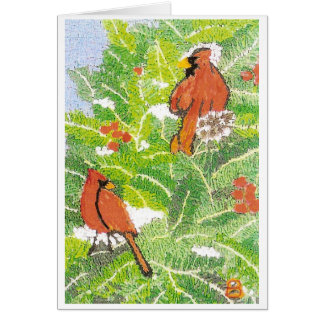 Cardinals in Pine Tree Card