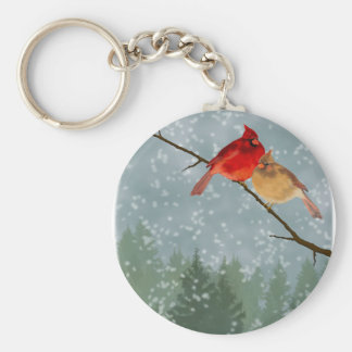 cardinals in winter key ring