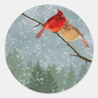 cardinals in winter round sticker