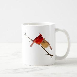 cardinals on a branch coffee mug