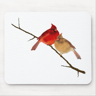 cardinals on a branch mouse pad