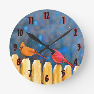 Cardinals on the Fence Round Clock