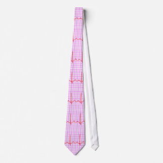 cardiogram or ecg in red on white tie