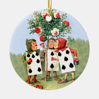 Cardmen Paint the Queen Roses in Wonderland Ceramic Ornament