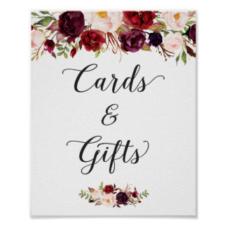 Cards and Gifts | Burgundy Floral Wedding Sign Poster