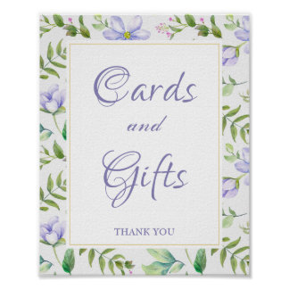 Cards and Gifts Dreamy Purple Floral Wedding Sign