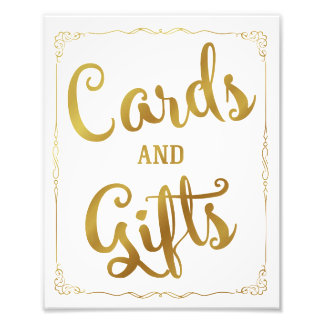 cards and gifts party wedding sign gold art photo
