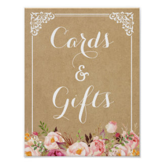 Cards and Gifts | Rustic Floral Kraft Wedding Sign Poster