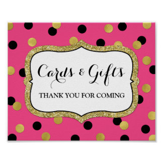 Cards Gifts Sign Pink Black Gold Confetti Poster