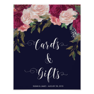 Cards Gifts wedding sign navy pink florals Poster