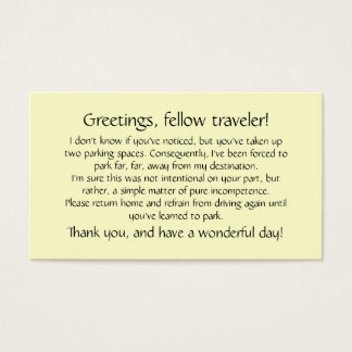 Cards to leave on others' windshields.