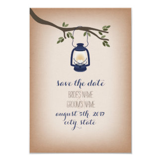 Cardstock Inspired Blue Camp Lantern Save The Date Card