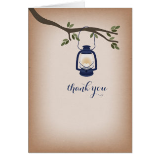 Cardstock Inspired Blue Camping Lantern Thank You Greeting Cards
