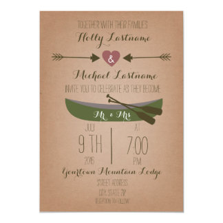 Cardstock Inspired Canoe + Arrows Wedding Invite