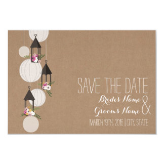 Cardstock Inspired Floral Lanterns Save The Date 9 Cm X 13 Cm Invitation Card