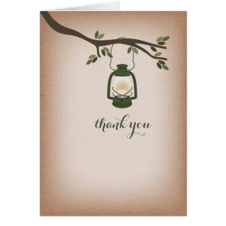 Cardstock Inspired Green Camping Lantern Thank You Greeting Card