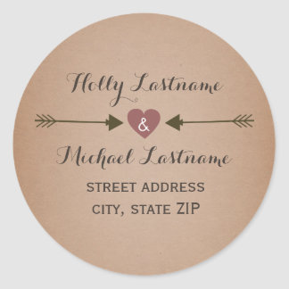 Cardstock Inspired Heart With Arrows Address Round Sticker