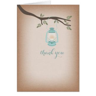 Cardstock Inspired Light Blue Lantern Thank You Greeting Card