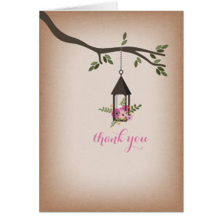 Cardstock Inspired Pink Floral Lantern Thank You Greeting Card