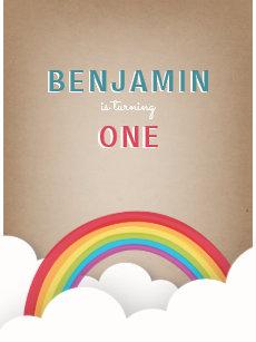 Cardstock Inspired Rainbow Clouds Birthday Invitation Postcard