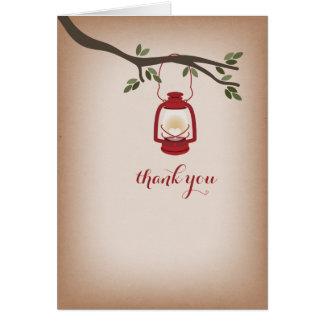 Cardstock Inspired Red Camping Lantern Thank You Greeting Card
