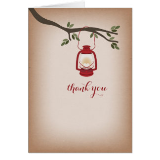 Cardstock Inspired Red Camping Lantern Thank You Card